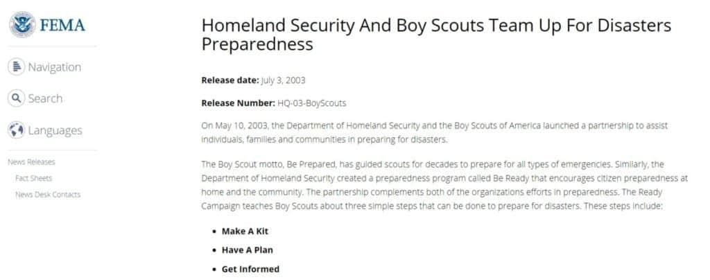 FEMA Scouting Emergency Preparedness